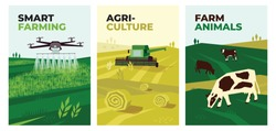 Set of vectors with agriculture, harvest, smart farming and farm animals. Illustrations of irrigation drone spraying on field, combine harvester and cows in pasture. Template for poster, banner, print
