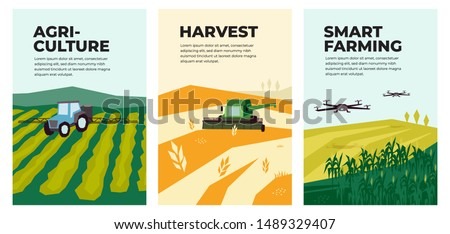 Set of vectors with agriculture,harvest, smart farming. Illustrations of irrigation tractor spraying on field,combine harvester, drones,agro industry and technology. Template for poster, annual report