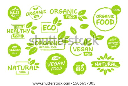 Set of Vegan, eco, bio, organic, fresh, healthy, 100 percent, nateral food. Natural product. Collection of emblem cafe, badges, tags, packaging. Vector illustration.