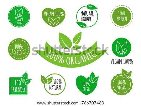 Set of vegan, organic, healthy food signs logos icons and labels. Healthy food badges, tags set for cafe, restaurants, products packaging etc.