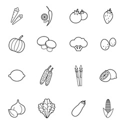 set of vegetable icons vector illustration