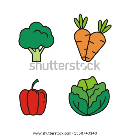 Set of vegetable vector illustration. vegetable icon  #1358743148