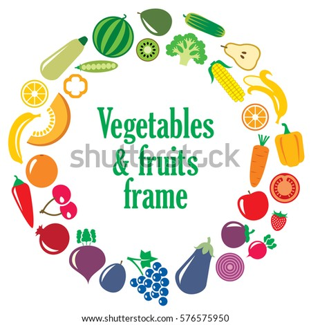 Set of vegetables and fruits illustration in the round frame