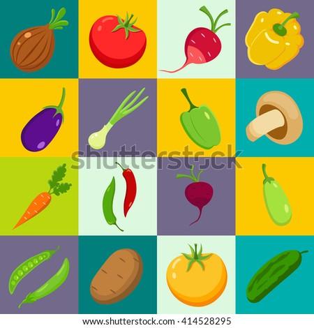 Set of vegetables. Cartoon style. Vector illustration.
