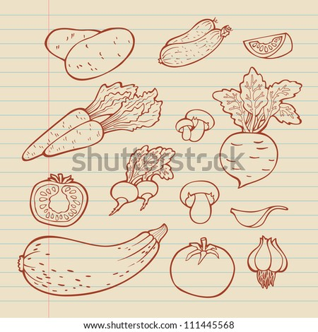 Set of vegetables. For menu. Hand drawing, retro. Healthy food.