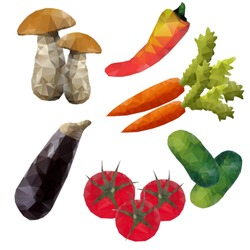 Set of vegetables from polygons