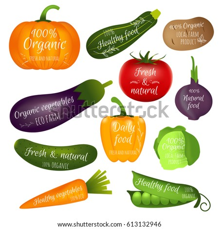 Set of vegetables labels with sample text. Collection of realistic icons for groceries, agriculture stores, local market, farm, eco products, packaging and advertising. Vector logo design.