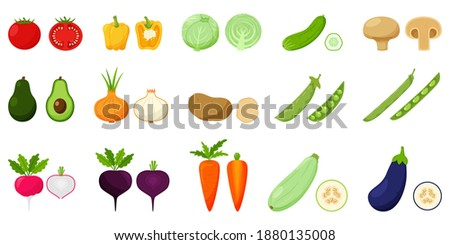 Set of vegetables. Pairs of whole and half vegetables in a cross section. Peas, beans, avocado, root vegetables. Food, vegetables in a flat style. Isolated vector illustration on a white background