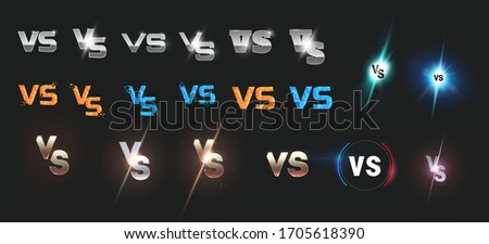 Set of versus logo vs letters for sports and fight competition. Battle, vs match, game concept competitive vs. eps 10 Vector illustration