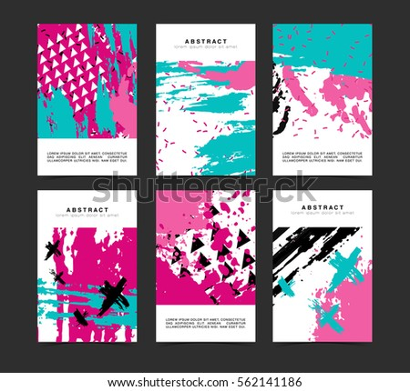 Set of vertical artistic creative unusual cards. Hand Drawn textures. Collection voucher for wedding, birthday, party. Design for gift card, personalized invitation, brochure, flyer. Vector.