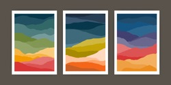Set of vertical backgrounds or card templates with abstract waves or hills of warm vivid colors. Bundle of bright colored backdrops with curves or layers. Vector illustration in modern art style
