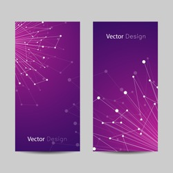 Set of vertical banners. Geometric pattern with connected lines and dots. Vector illustration on violet background.