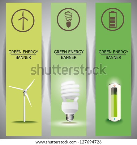 Set of vertical banners. The concept of green energy