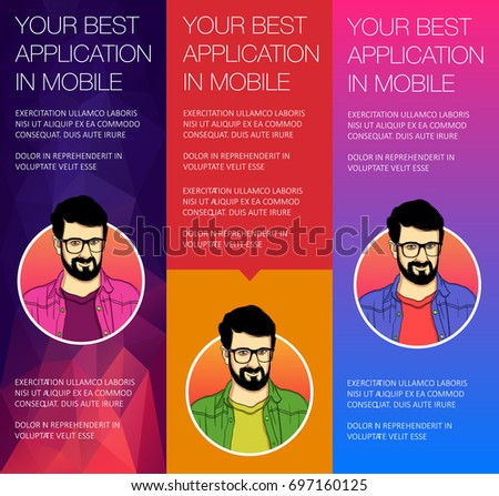 Set of vertical banners with face of guy. Vector header banners with bubble talk. Vector banner of headers template for alert.