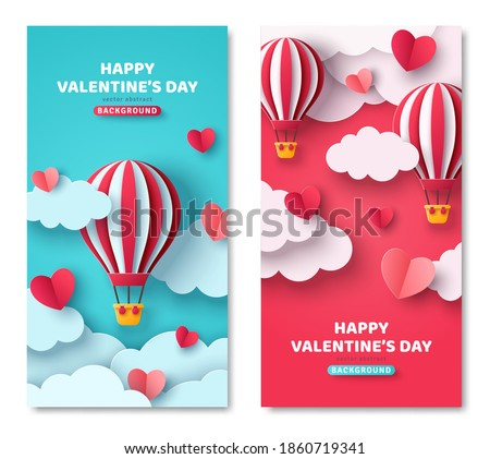 Set of vertical banners with hot air balloon, hearts and paper cut clouds. Romantic design for honeymoon trip. Place for text. Happy Valentines day sale voucher template with hearts.