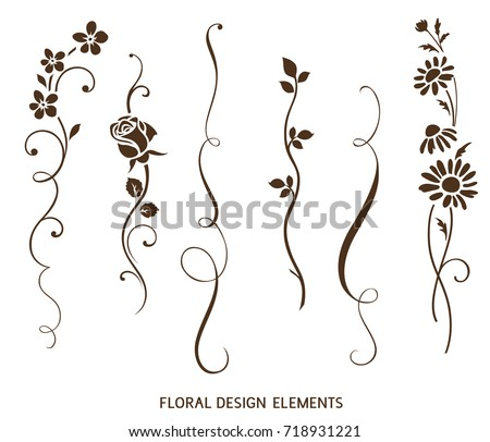 Set Of Vertical Calligraphic Elements And Flower Silhouette For Frame Design Vector Vintage Ornaments