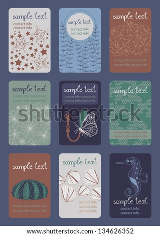 Set of vertical colourful business cards