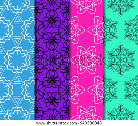 Set of 4 vertical e seamless lace pattern with elements of floral ornament. Different colored bases. vector illustration #640300048