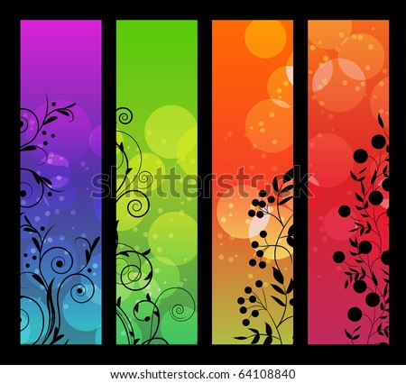 Set of vertical floral banners - stock vector