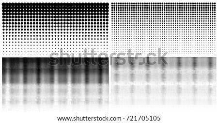 Set of vertical gradient halftone dots backgrounds, horizontal templates using halftone dots pattern. Vector illustration