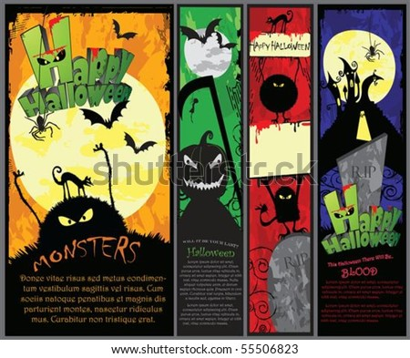 Set of 4 vertical Halloween banners in different colors