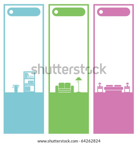 set of vertical home interior banners isolated on white