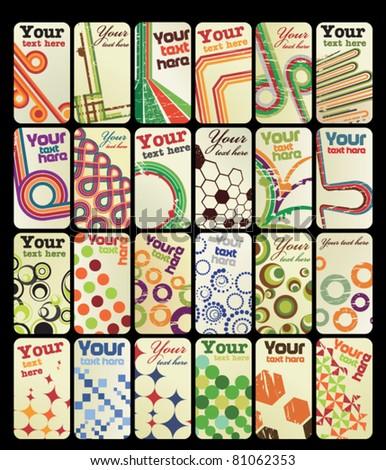 Set of 24 vertical retro business cards