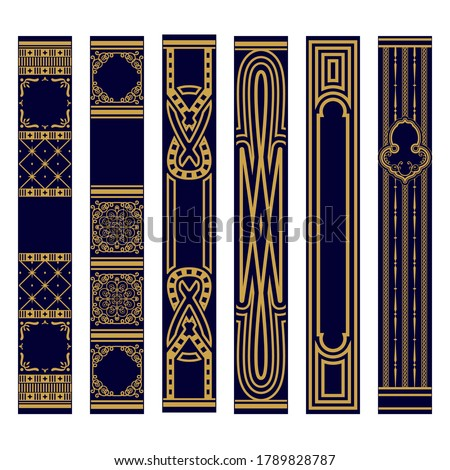 Set of Vertical spines of books ornament. Samples of roots of the book. Luxury gold and blue pattern. Vector illustration Stockfoto ©