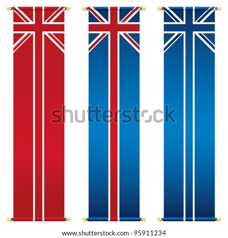 set of vertical union jack banners isolated on white