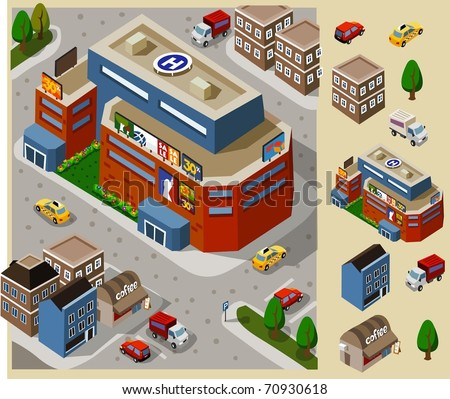 Set of very detailed isometric vector - stock vector