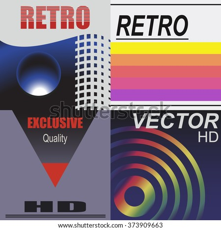 set of vhs design covers retro