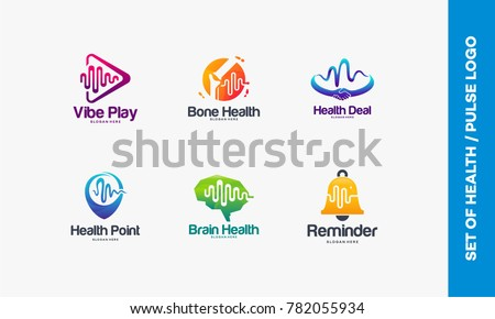Set of Vibe Play logo, Bone Health symbol, Health Deal, Health Point logo, Brain Health, Reminder logo, Collection of Pulse logo
