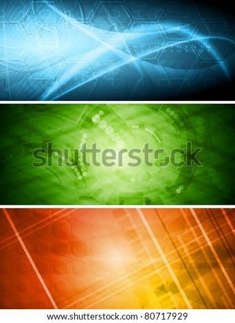Set of vibrant hi-tech banners. Vector eps 10