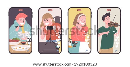 Set of video creator broadcasting on smart phone in flat style. Vector illustration of cartoon character Mukbung, ASMRtist,  Beauty blogger and musician live streaming the vlog. Foto stock ©