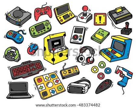 Set of video game doodle