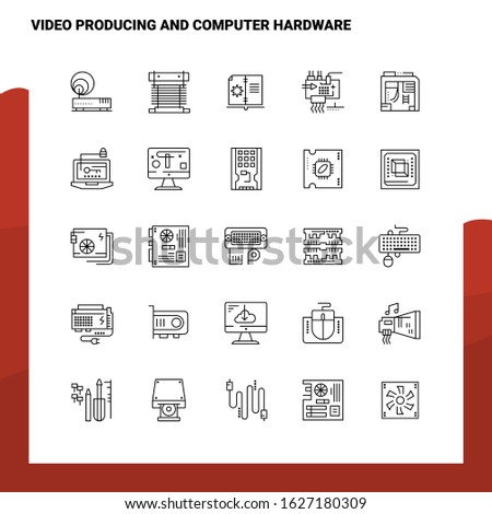 Set of Video Producing And Computer Hardware Line Icon set 25 Icons. Vector Minimalism Style Design Black Icons Set. Linear pictogram pack.
