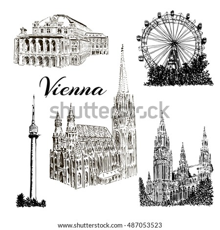 Set of Vienna symbols. Donauturm, Stephansdom, Rathaus, Prater, Vienna State Opera House. Wiener Staatsoper. Vector hand drawn sketch illustration.