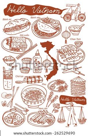 set of vietnamese food doodles