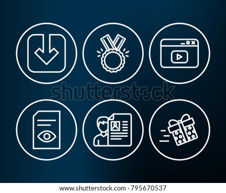 Set of View document, Load document and Honor icons. Video content, Job interview and Present delivery signs. Open file, Download arrowhead, Medal. Browser window, Cv file, Shopping service. Vector