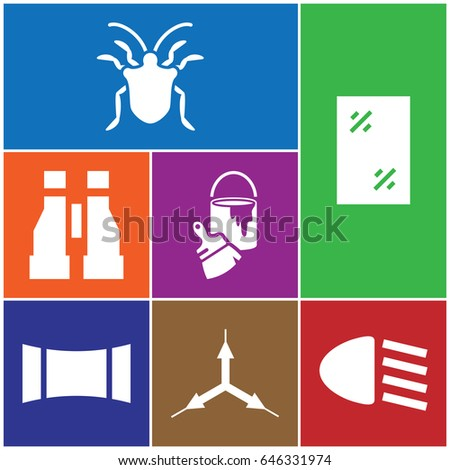 set of 7 view filled icons such