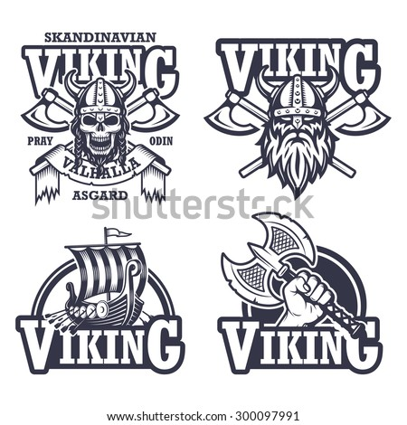 set of viking emblems  labels