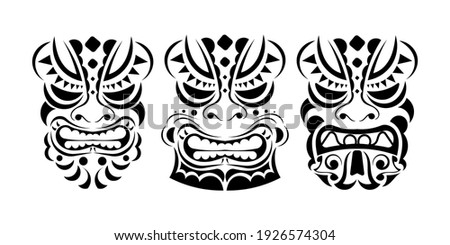 Set of Viking faces in ornament style. Polynesian, Maori or Hawaiian tribal patterns. Good for prints, tattoos, and t-shirts. Isolated. Vector illustration.
