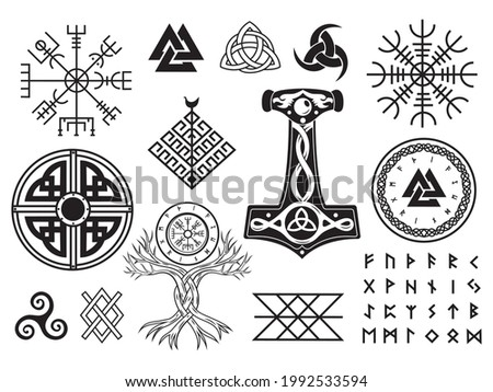Set of Viking symbols. Collection of scandinavian pagan norse sign vegvisir, celtic tree of life, hammer of Thor, etc. Magic warrior norse symbol. Vector illustration on white background.