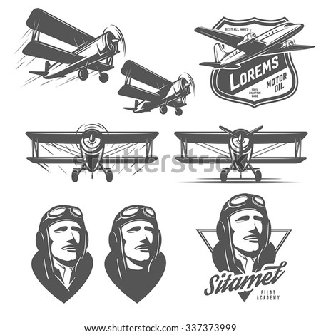 set of vintage aircraft design