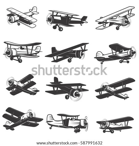 set of vintage airplanes icons