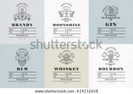 set of vintage alcohol label