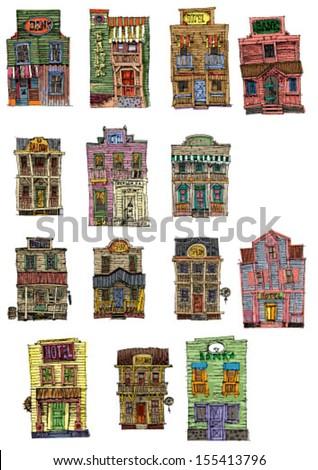 set of vintage american buildings - cartoon
