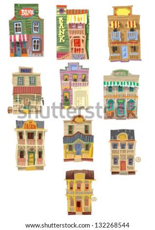 set of vintage american facades - cartoon
