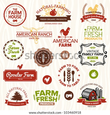 Set of vintage and modern farm labels and designs