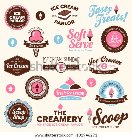 Set of vintage and modern ice cream shop logo badges and labels